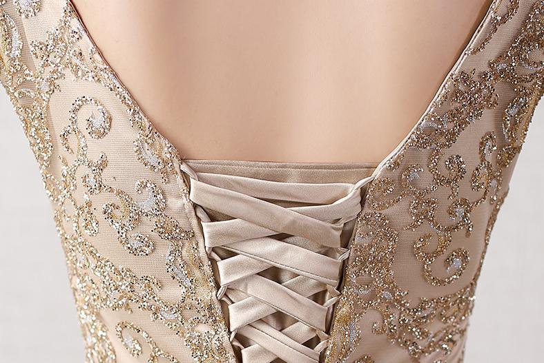 BANVASAC 2018 Linia O Neck Sequined Długie suknie wieczorowe - Suknie specjalne okazje - Zdjęcie 6