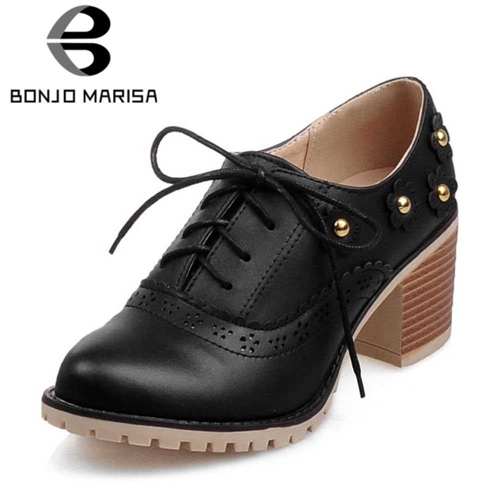 BONJOMARISA Big Size 32-43 Brand New Lace Up Hollow Rivet Square High Heels Shoes Woman Casual Office Retro Spring Autumn PumpsBONJOMARISA Big Size 32-43 Brand New Lace Up Hollow Rivet Square High Heels Shoes Woman Casual Office Retro Spring Autumn Pumps