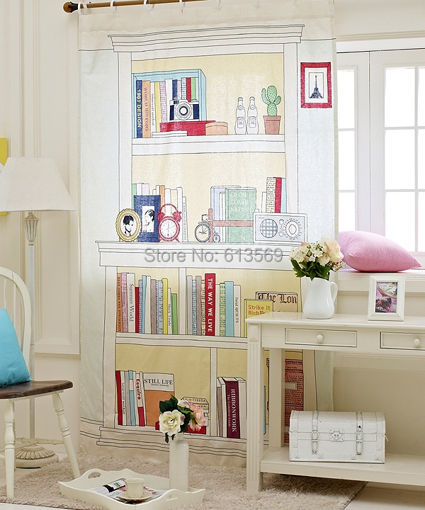 Kingart Home Office Curtain Children Bedroom Shading Curtains Girl Boy Finished Hook Cloth Bookcase Curtain