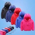2016 Зима детская куртка мода девушки парни хлопка с капюшоном пальто дети мальчик куртка теплая и пиджаки тонкие модели отправить чехол 16A12