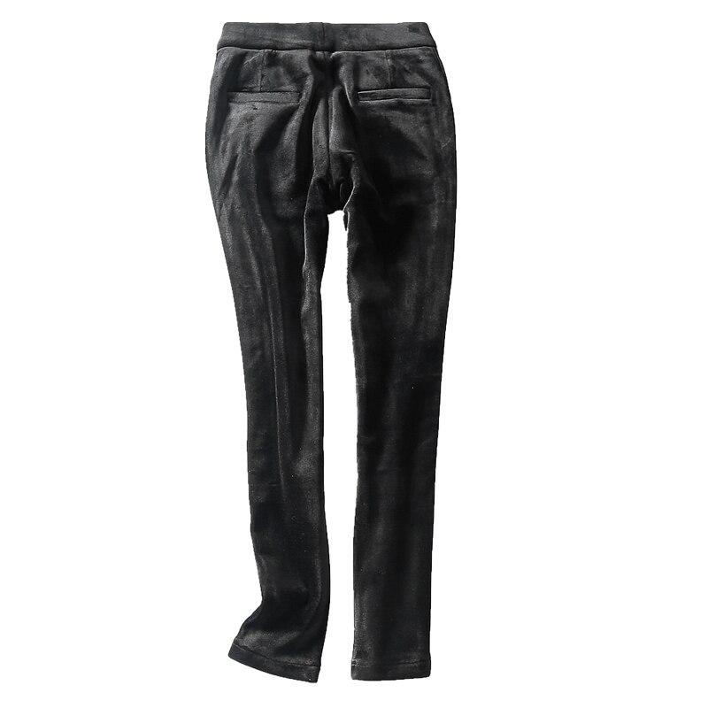 Casual Rayas Samgpilee Más Nuevo Medio A Pantalones Black Mujeres 33 longitud 2018 Elástico Moda Tobillo Invierno Plano Cintura Tejido Tamaño Lápiz 27 XPwdqE