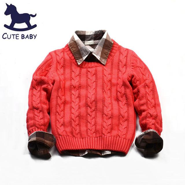 Venta al por menor 3 colores de La Marca de Moda Del Otoño Del Resorte Del Bebé suéteres suéter de los niños del muchacho de la rebeca de manga larga ropa para niños