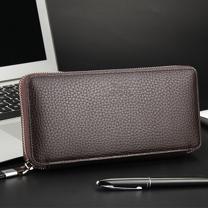 YOUYOU MOUSE Casual PU Leather Men Wallet Korean Litchi Grain Money Wallets Long Business Zip Phone Bag Coin Packet Card Purse youyou mouse high quality women long wallets fashion pu leather money wallet 6 colors lady clutch coin purse card