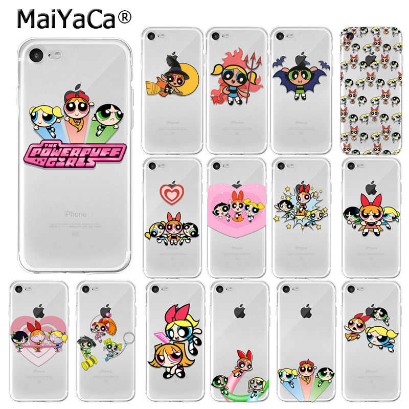MaiYaCa De Powerpuff Girls TPU Transparant Telefoon Case Cover Shell voor iPhone 7 7plus X XS MAX 6 6S 8 8Plus 5 5S XR