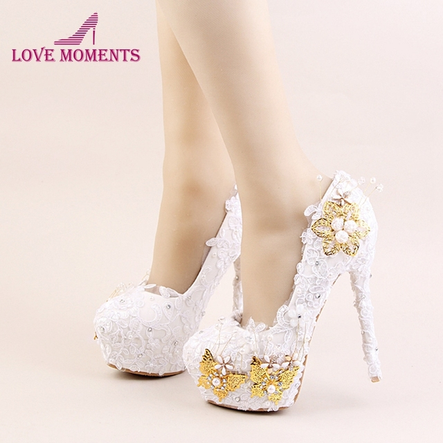 8b807c7da58 US $66.29 22% OFF 2018 White Color Elegant Shoes Beautiful Lace Flower  Bridal Wedding High Heels Gold Butterflies Stiletto Imitation Pearl-in  Women's ...