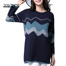 JOGTUME Oversized Sweater for Women 4XL 5XL 2017 Autumn Winter Blue Loose Cool Pullover Sweaters Female Long Sleeve Jumper Tops