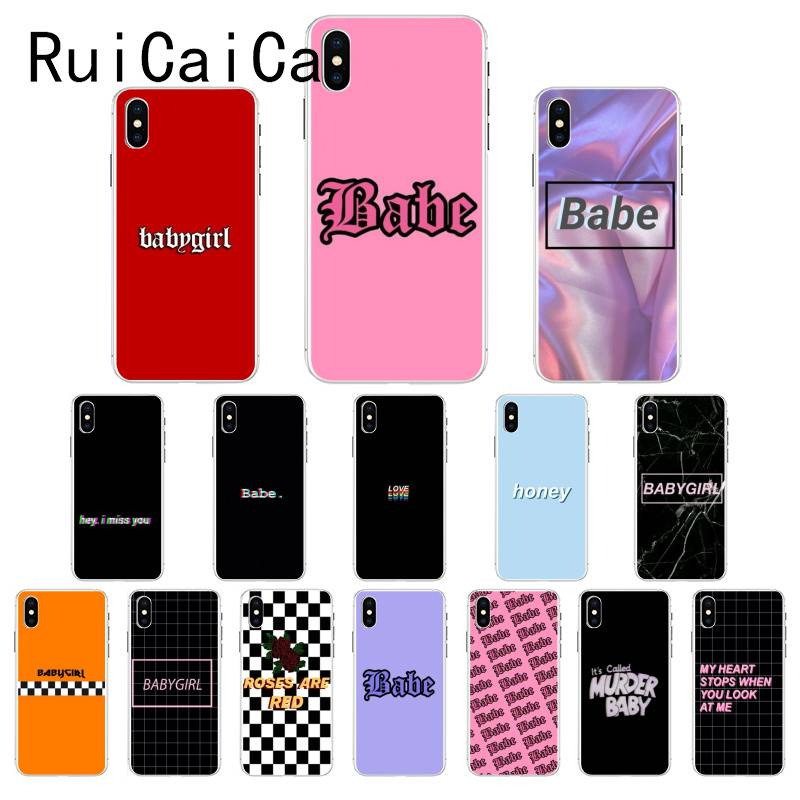 Ruicaica Babe Babygirl Honey Line Text Art Luxury Unique Design Phone Cover For IPhone