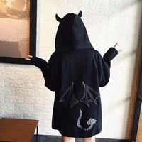 2018 Hiphop Hooded Hoodies Reflective Demon Printed Pink Hoodie Loose Lovers Sweatshirt Zipper Casual