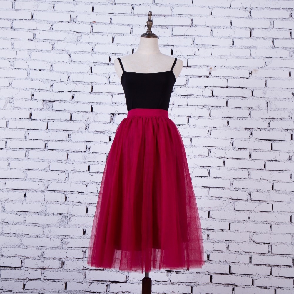 FOLOBE Vintage 7 barev faldas korejský styl 80cm Long maxi Tyl sukně podzim jupe vysoký pas dospělých dlouhých tylu sukně 4 vrstvy