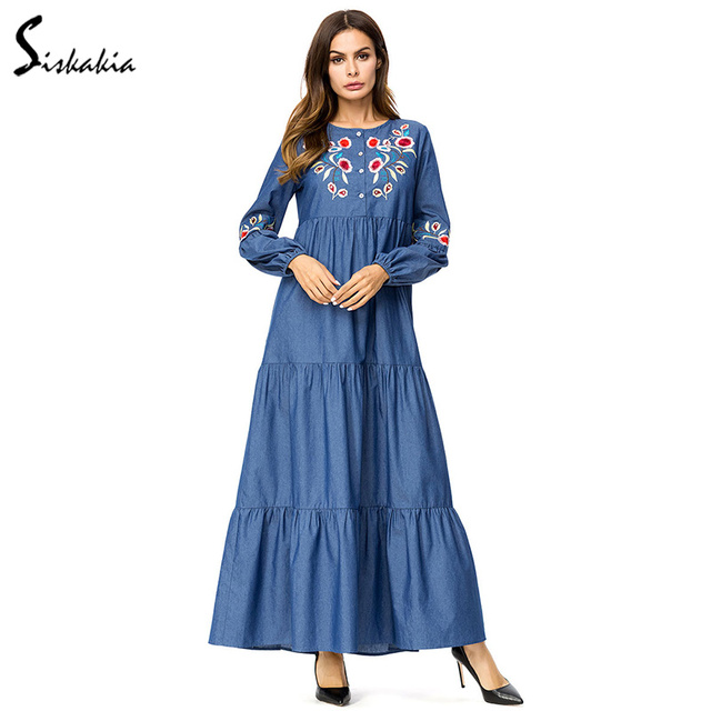 Siskakia Denim long dress Tall women Floral Embroidery maxi Dresses fashion  Ruffles drape patchwork Autumn Dress swing 3XL 4XL 14730dac64ea