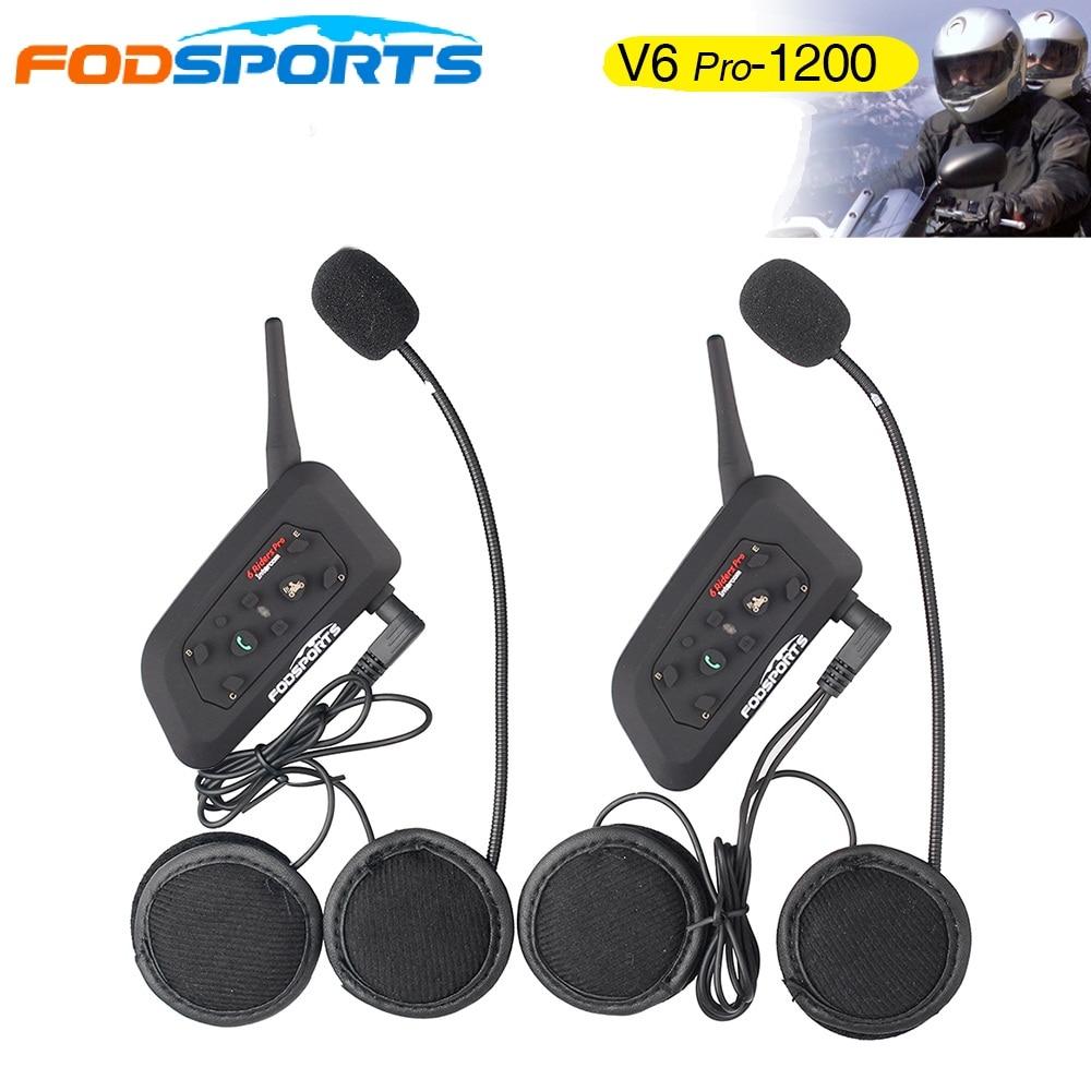 2019 Fodsports Metal clip 2 pcs V6 Pro BT Interphone 1200M Motorcycle Bluetooth Helmet Intercom headset