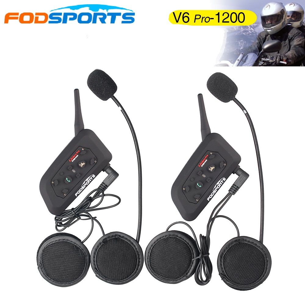 2018 Fodsports! Klip logam +2 pcs V6 Pro BT Interphone 1200M Motosikal Helmet Bluetooth Helmet Intercom untuk 6 Rider