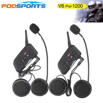 2018 Fodsports! Metal clip +2 pcs V6 Pro BT Interphone 1200M Motorcycle Bluetooth Helmet Intercom headset for 6 Rider