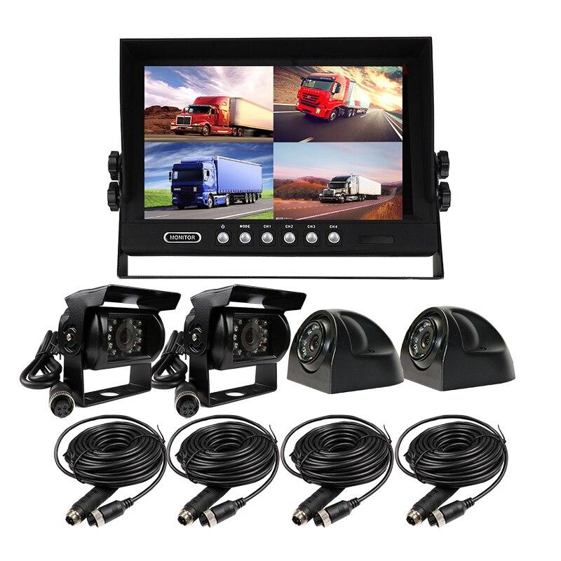 FREE SHIPPING 4CH DC 12V-24V 9 LCD Screen Quad Split Car Reverse Monitor Kit + Waterproof HD Rear View Camera for Truck Bus Van