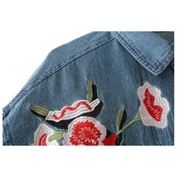 Women New Vintage Casual Denim Shirt Elegant Floral Embroidery Blouse Long Sleeve Turn Down Collar Loose