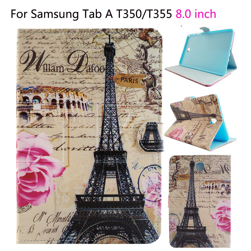 Tablet Funda Case For Samsung Galaxy tab A 8.0 T350 T351 T355 P350 Case Cover Fashion Painted Flip Silicon PU Leather Shell fashion painted flip pu leather for samsung galaxy tab a 8 0 t350 t351 t355 p350 p355 8 0 inch tablet smart case cover gift