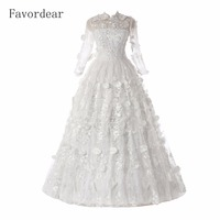 Favordear Lace Ball Gown Long Sleeve Wedding Dress High Neck Ball Gown Lace Sheer Neckline Long Sleeve Tulle Wedding Dress