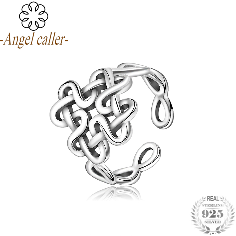 Angel Caller Authentic 925 Sterling Silver Celtics Knot Finger Rings for Women Sterling Silver Jewelry Open Adjustable Ring недорого