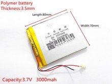 3.7V 3000 mAh Polymer Lithium Battery LiPo For GPS Tablet PC 357080