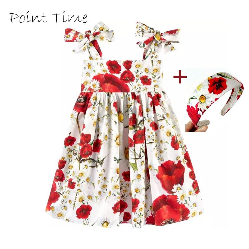Tüdrukute vestide kleidid Vööri printsessi kostüümibränd Laste kleit Peapael Tüdrukute riided Lilleprindiga lastekleidid Suvi