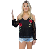 Red Rose Embroidered Long Sleeves Lace Woman Blouse Fleurs Top Women Tops Shirts Sexy V Neck
