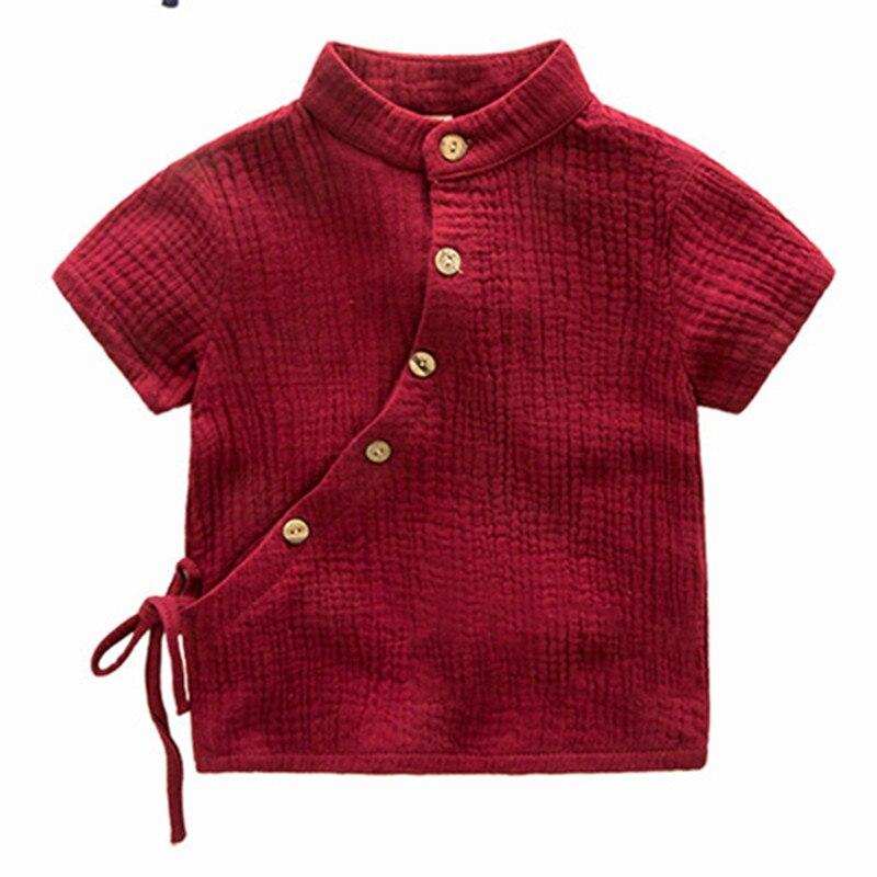 Children's clothing T-Shirt 2T~6T Mandarin Collar Solid Casual Blouse Regular Wood Button Short Sleeve Summer Cotton Vertement