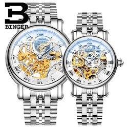 Мужские и женские автоматические часы Бингер, механические часы-скелетоны с ремешком из нержавеющей стали, водонепроницаемые наручные час...