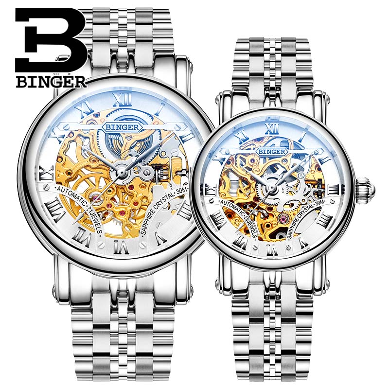 BINGER Couple Automatic Watch Men Skeleton Mechanical Watch For Women Wristwatch Stainless Steel Strap Waterproof Watch B-5066M