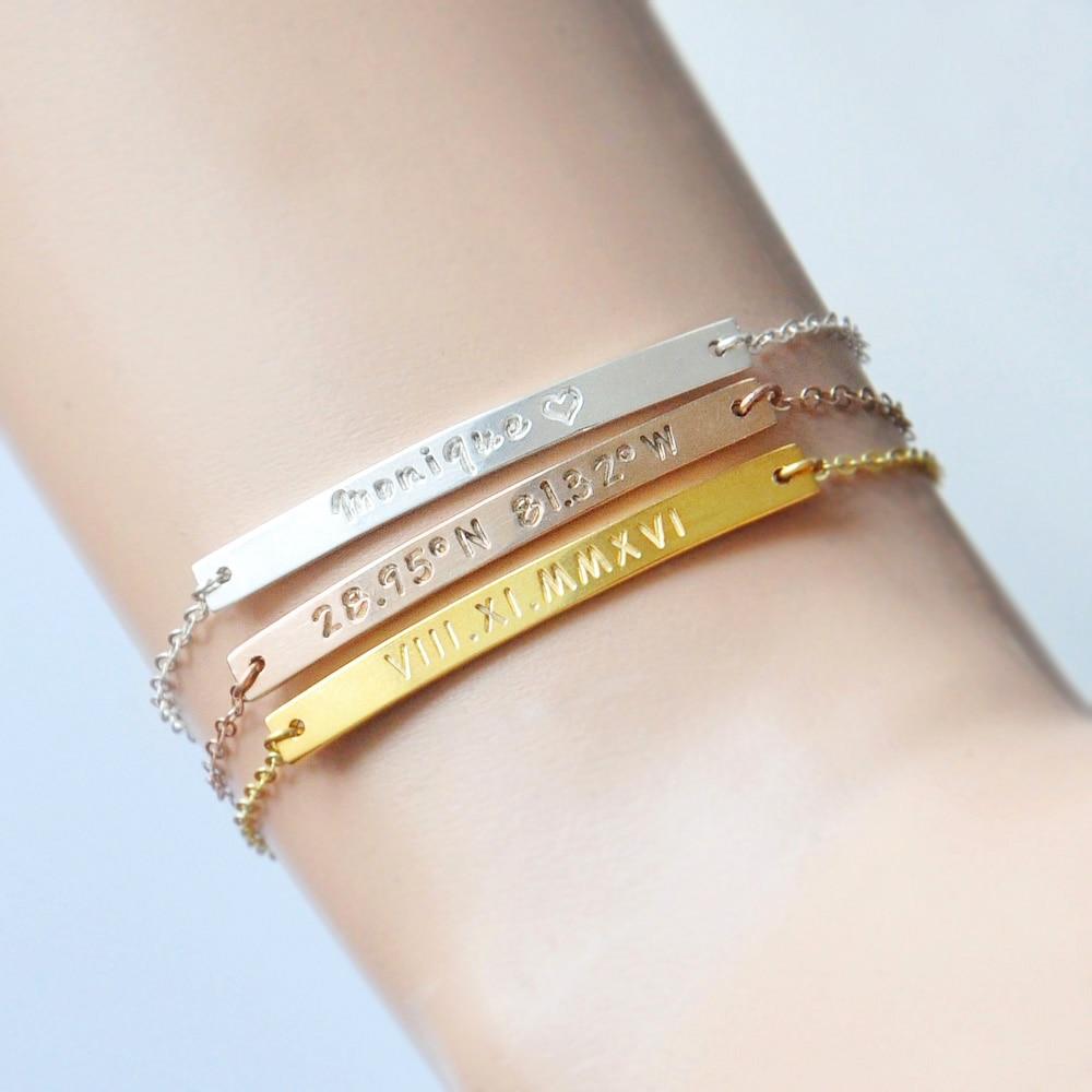 personalized bar bracelet engraved bracelet name plate bracelet