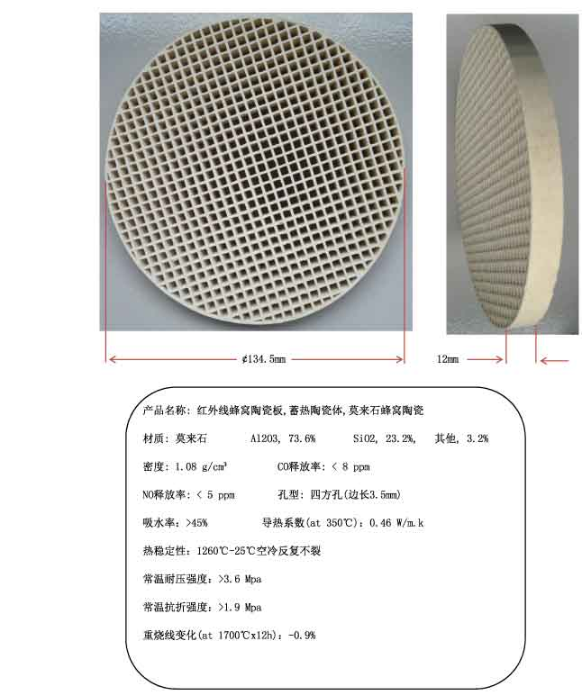 The infrared ceramic plate honeycomb regenerative ceramic body, mullite ceramic honeycomb, 134.5mm honeycomb ceramic цена 2017