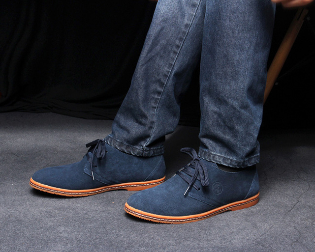 4bb2a3c707 New Men s KUADU Off Blue Saddle Suede Leather Oxford Shoes Free Shipping  Size 39-44