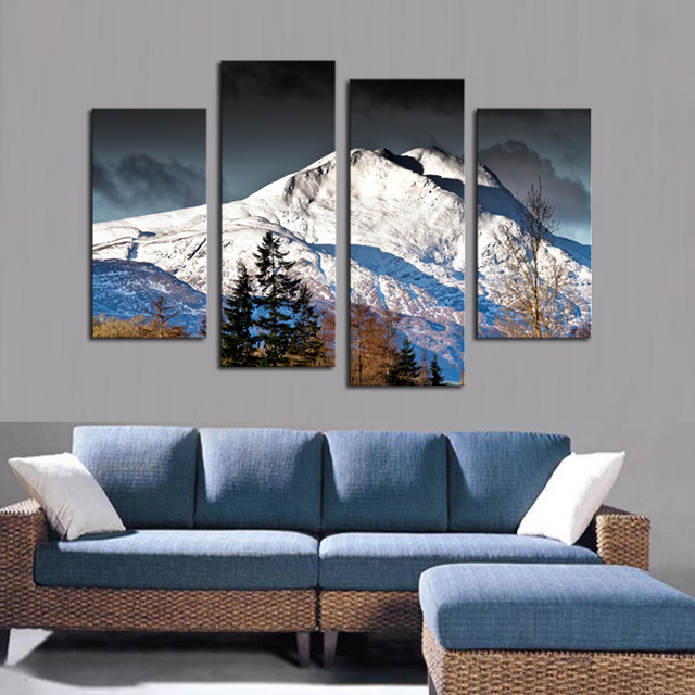 2017 Limited Hot No 4 Pcs Canvas Wall Paintings Snow Mountain Decorative Oil Painting Prints