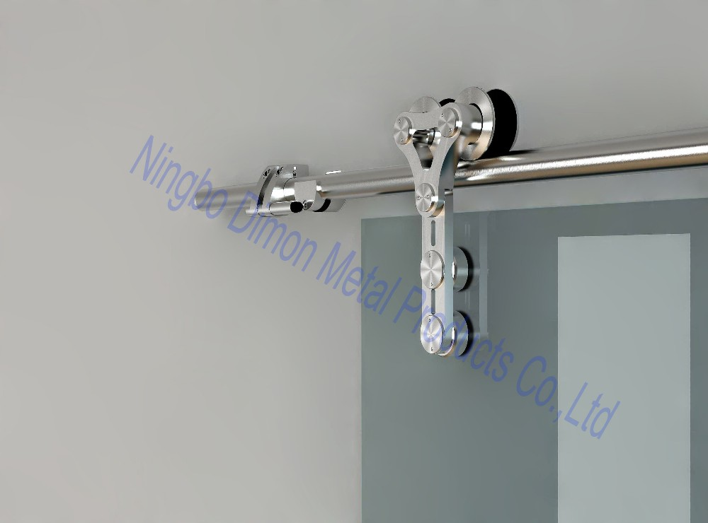 Free Shipping Dimon Hot Sell Stainless Steel 304 Satin America Style Sliding Barn Door Hardware DM-SDG 7003 Without Bar