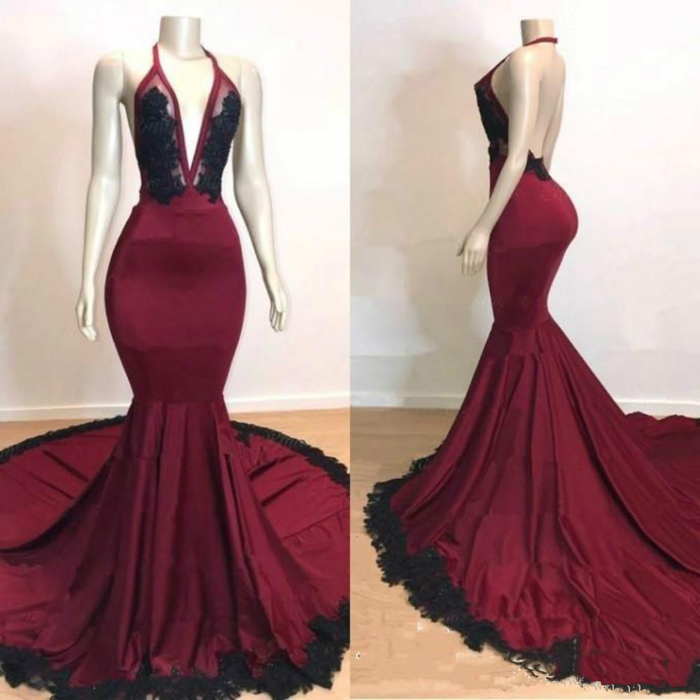 Burgundy Robe De Soiree 2019 Mermaid Deep V-neck Appliques Backless Long Women Party   Prom     Dresses     Prom   Gown Evening   Dresses