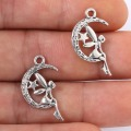 25*14mm 10pcs/lot 2016 new fashion antique silver plated handmade charms Pendant DIY Bracelet moon girl angel