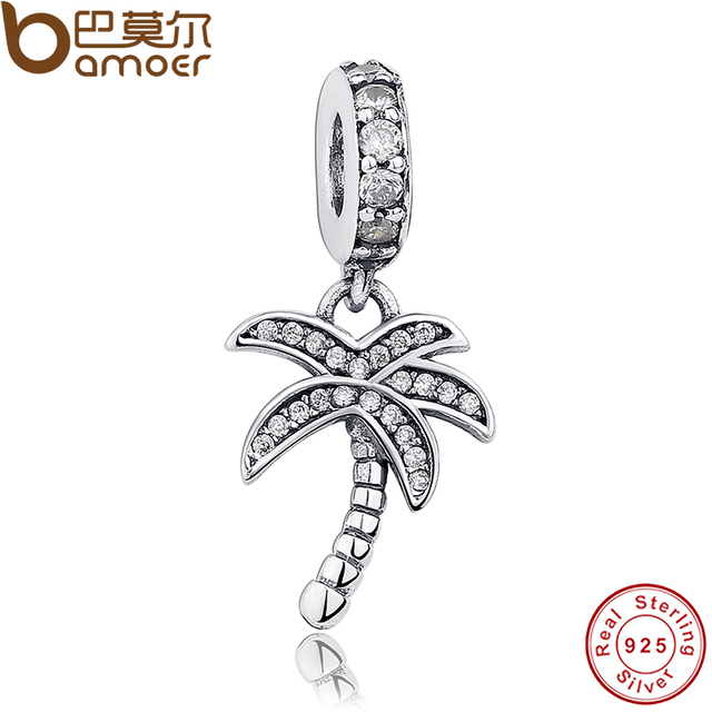 Authentic 925 Sterling Silver Sparkling Clear CZ Palm Tree Dangle Charm Fit Brac