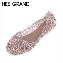 HEE GRAND Woman Sandals Sweet Cut-out Jelly Sandal Summer Soft Ballet Flats Women Flat Shoes Woman 4 Colors Size 36-40 XWZ030