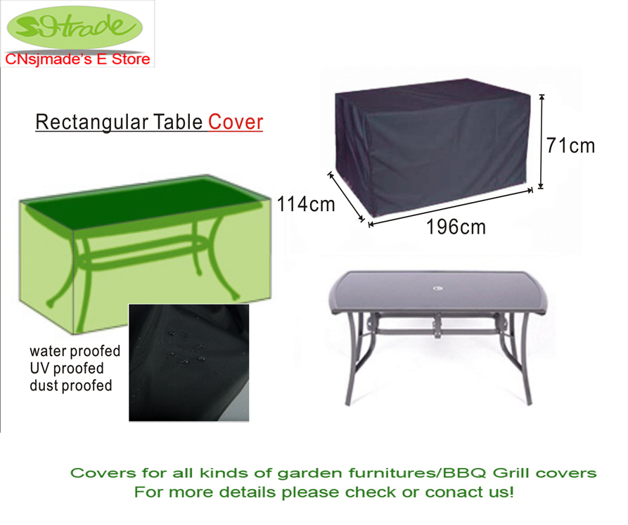 Garden Furinture cover, Rectangular Table cover, 196 x114 x 71cm ,Black color,Free shipping
