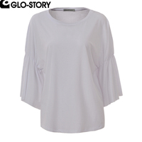 GLO STORY Womens Cotton T Shirt Women Butterfly Sleeve O Neck Loose 2018 Spring New Tee