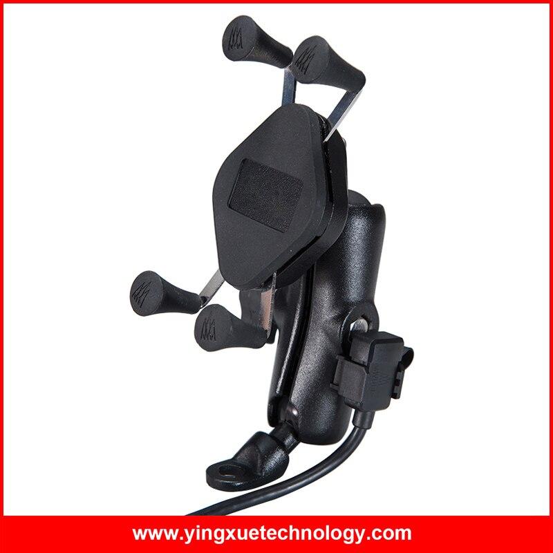 Support pour téléphone portable universel pour rétroviseur moto avec double chargeur USB résistant à l'eau pour téléphone intelligent 3.5-5.5 pouces