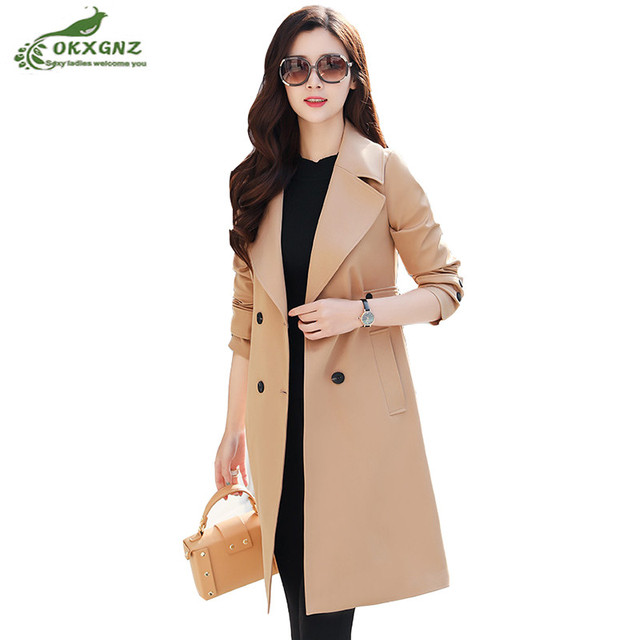 b3a0dc19c27 Windbreaker women medium long section Spring Autumn new fashion Slim  high-end ladies dignified atmosphere