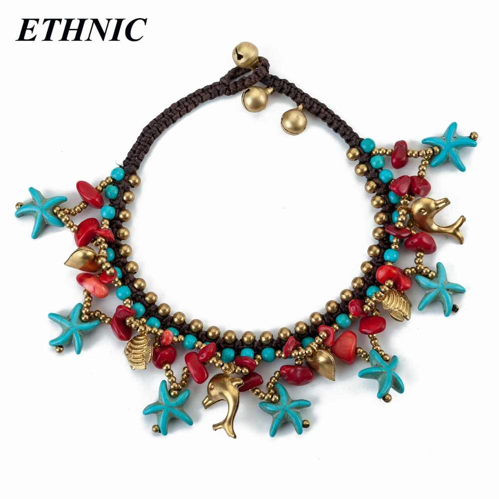 New Arrivals ETHNIC Brand Vintage Green Sea Star Charm Anklets for Women Gold-Color Beads Chain On Foot Beach Fashion Anklet