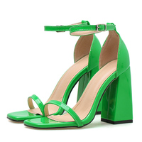 2019 Summer Fashion Woman 10cm High Heels Platform Red Sandals Female Block Heels Pumps Lady Chunky Neon Green Strappy Shoes
