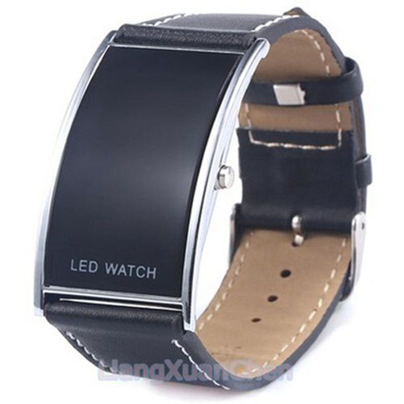 Men's Watch, Black Leather Band Strap Square Stainless Steel Case Wrist Watch Best Gift for Men