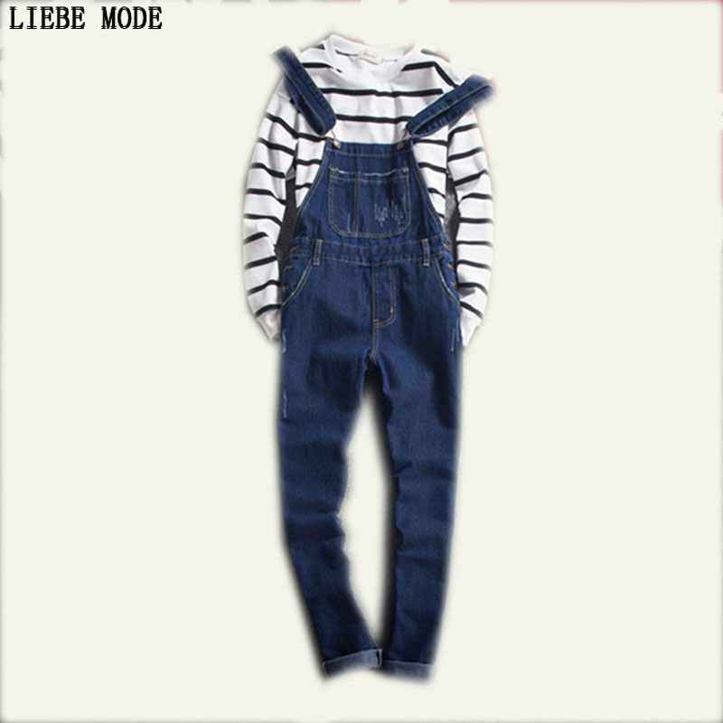 2017 New Arrival Mens Slim Straight Ripped Denim Overalls Distressed Jeans Ripped Jumpsuit Male Suspenders Bibs Blue Pants XXL 2017 spring autumn fashion mens slim jean overalls casual bib jeans for men male ripped denim jumpsuit suspenders bibs