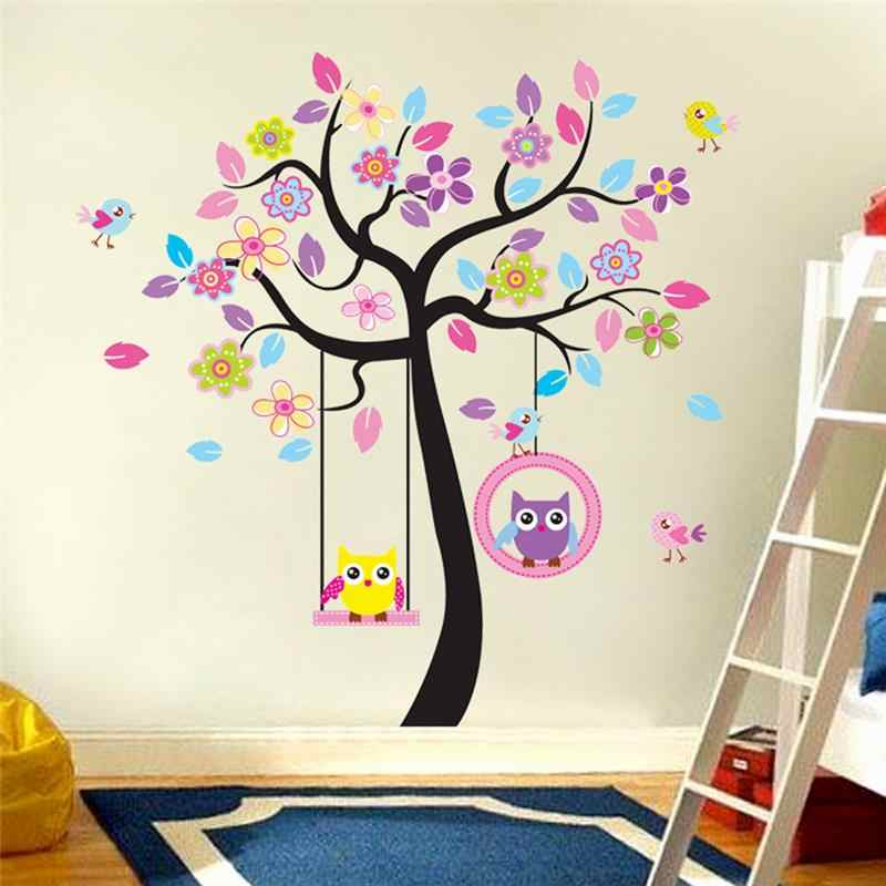 Kawaii Owls Tree Wall Stickers For Kids Rooms Nursery Home Decor Cartoon Animals Wall Decals Pvc Mural Art Diy Posters