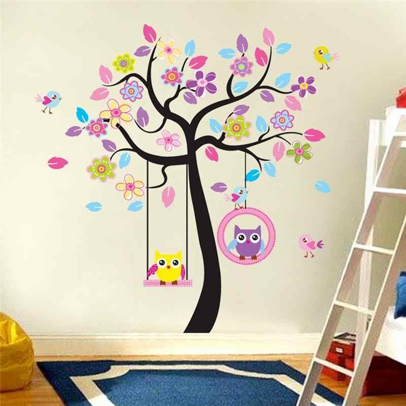 Kawaii совы Дерево стены стикеры для детей номера Детская Home Decor C Книги по искусству