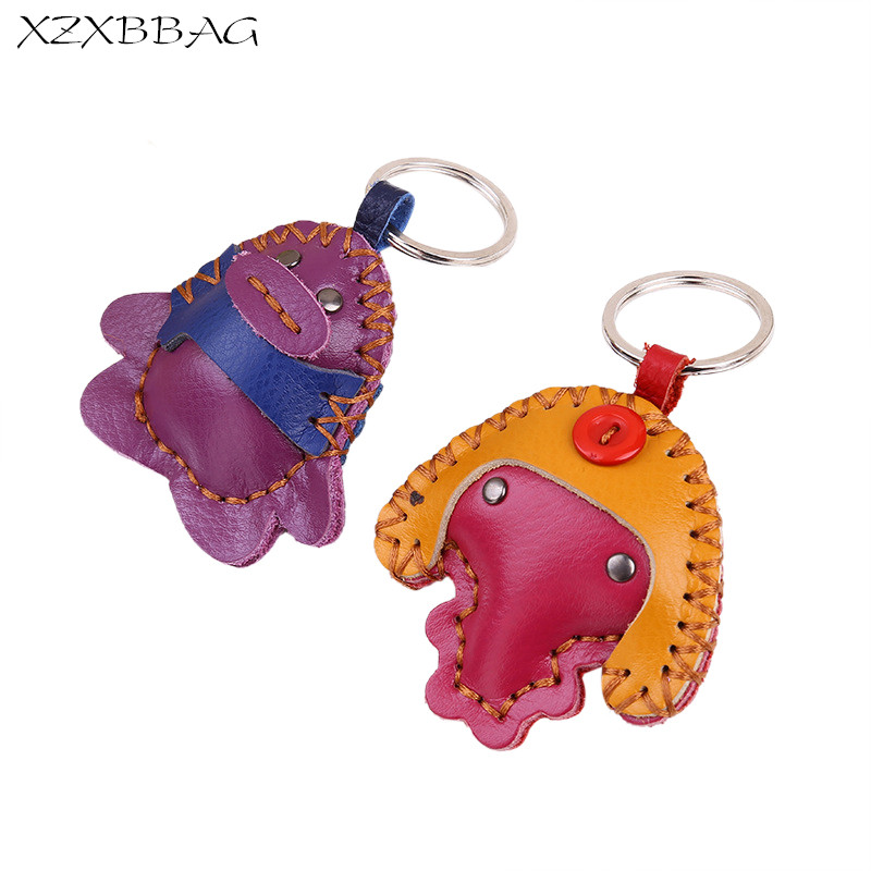 XZXBBAG Bag Accessories Ornament Genuine Leather Cute Animal Pendant Women Creative Bag Hang Decoration Chain Ring XB183