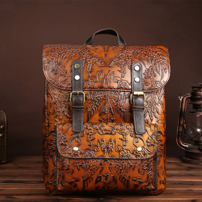 2018 Vintage Genuine Leather Women Backpacks High Quality Embossed Ladies Backpack Teenage Girls Famous Brand Travel Female Bags high quality genuine leather women backpacks female embossed flower backpack school bag vintage coffee ladies travel bags l0244