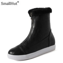 Platform Snow Boots Winter Women Fashion Front Zipper Height Increasing Shoes D079 Elegant Ladies Warm Black White Ankle